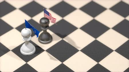пешка : Chess Pawn with country flag, European Union, United States.