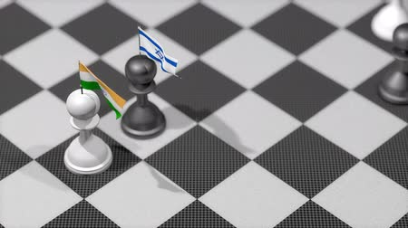 пешка : Chess Pawn with country flag, India, Israel. Стоковые видеозаписи