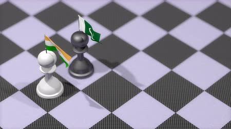 пешка : Chess Pawn with country flag, India, Pakistan