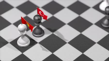 invasione : Chess Pawn with country flag, Kyrgyzstan, Turkey.