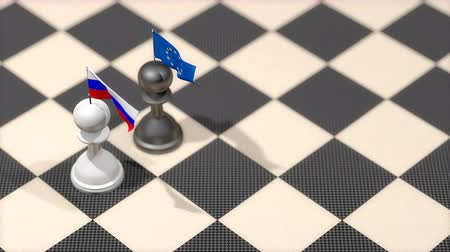 peão : Chess Pawn with country flag, Russia, European Union.