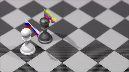 peão : Chess Pawn with country flag, Russia, Venezuela.