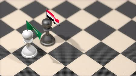 yemen : Chess Pawn with country flag, Saudi Arabia, Yemen