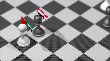 yemen : Chess Pawn with country flag, UAE, Yemen.