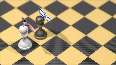 peão : Chess Pawn with country flag, United States, Israel.