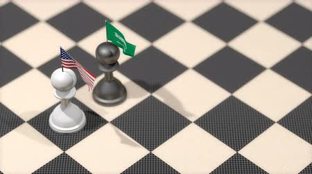 negotiate : Chess Pawn with country flag, United States, Saudi Arabia. Stock Footage