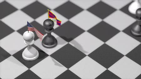 peão : Chess Pawn with country flag, United States, Tibet. Vídeos