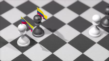 peão : Chess Pawn with country flag, Venezuela, Columbia.