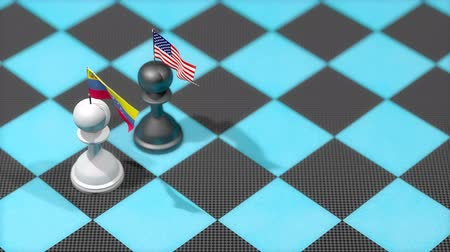 invasione : Chess Pawn with country flag, Venezuela, United States.