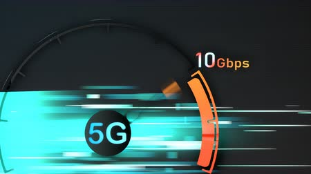 velocímetro : 5G broadband connection speed Stock Footage