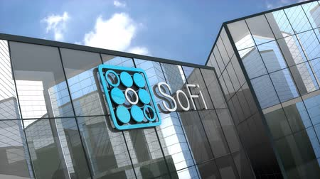 hipoteca : May 2019, Editorial use only, 3D animation, Social Finance Inc. logo on glass building.