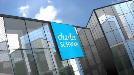찰스 : May 2019, Editorial use only, 3D animation, The Charles Schwab Corporation on glass building. 무비클립