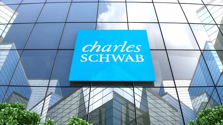 только : May 2019, Editorial use only, 3D animation, The Charles Schwab Corporation on glass building. Стоковые видеозаписи