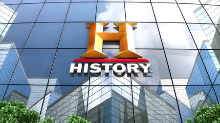 только : April 2019, Editorial use only, 3D animation, History Channel logo on glass building. Стоковые видеозаписи