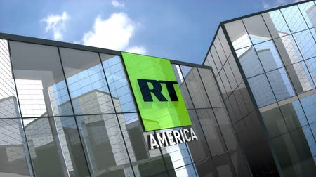 dnes : April 2019, Editorial RT America logo on glass building.