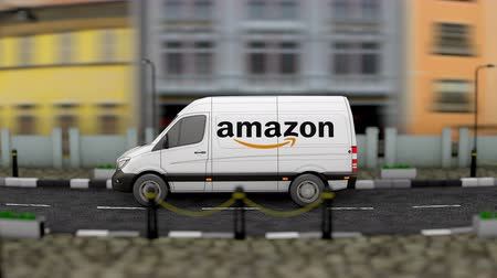 amazon prime : April 2019, Editorial Amazon van delivery vehicle.