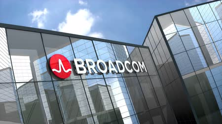 gigabit : April 2019, Editorial use only, 3D animation, Broadcom corporation logo on glass building. Stock Footage