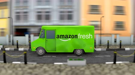 amazonka : March 2019, Editorial use only, 3d Animation, Amazon Fresh delivery vehicle.