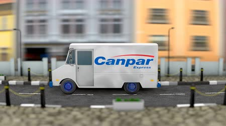 posta ücreti : March 2019, Editorial use only, 3d Animation, Canpar delivery vehicle.