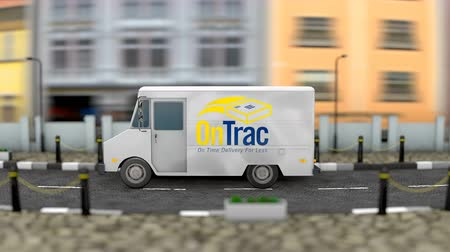 posta ücreti : March 2019, Editorial use only, 3d Animation, Ontrac delivery vehicle. Stok Video