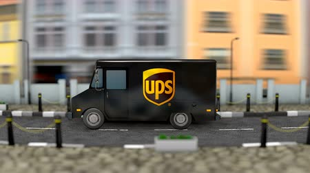 caixa de correio : March 2019, Editorial use only, 3d animation, UPS delivery vehicle.
