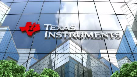 pomfrity : March 2019, Editorial use only, Texas Instruments logo on glass building.