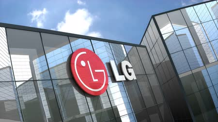 aparelho : February 2019, Editorial use only, 3D animation, LG Electronics Inc. logo on glass building.