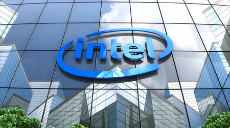 intel : August 2019, Editorial use only, 3D animation, Intel logo on glass building. Stock Footage