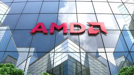 gyártó : August 2019, Editorial use only, 3D animation, AMD logo on glass building.