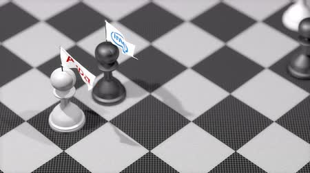 intel : Chess Pawn with company logo flag, AMD, Intel.