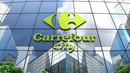 conveniente : August 2019, Editorial use only, 3D animation, Carefour City convenience store logo on glass building. Stock Footage