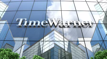 hmota : August 2019, Editorial use only, 3D animation, Time Warner, Inc. logo on glass building.