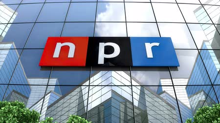 omroep : July 2019, Editorial use only, 3D animation, National Public Radio logo on glass building.