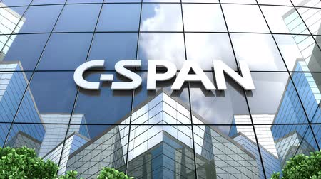 только : July 2019, Editorial use only, 3D animation, C-SPAN logo on glass building.