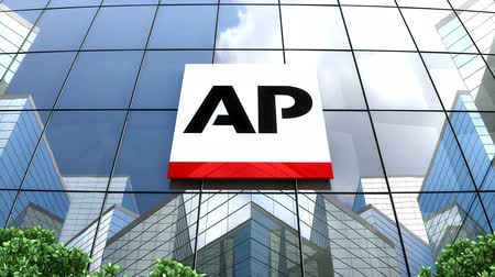 associados : July 2019, Editorial use only, 3D animation, Associated Press logo on glass building.