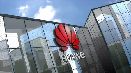 ブロードバンド : June 2018, Editorial use only, 3D animation, Huawei Technologies Co., Ltd. logo on glass building.