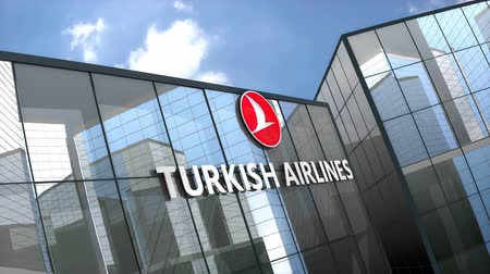 только : May 2019, Editorial use only, Turkish Airline logo on glass building. Стоковые видеозаписи