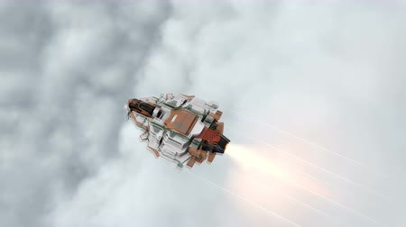 крейсерский : Top view scifi ship cruising at high speed in the clouds.