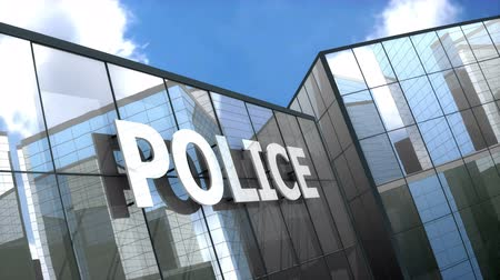 police sign : Police building blue sky timelapse. Stock Footage