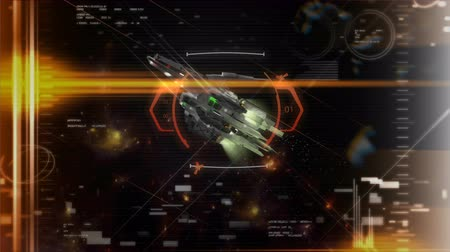 crosshair : Game like SciFi animation, Crosshair target locked on a spaceship. Stock Footage
