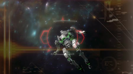 crosshair : Game like SciFi animation, Crosshair target locked on a space battle robot.