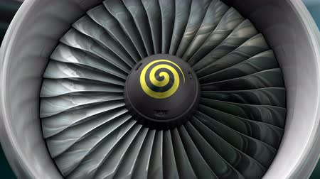 conventional : Computer generated, Engineering and technology, turbo jet engine front view. Stock Footage