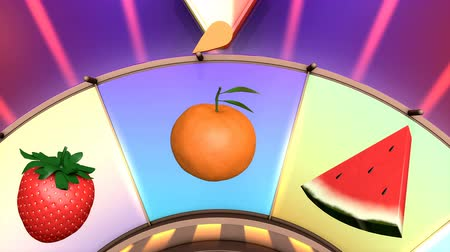 рулетка : Children video animation, Wheel of fruit Blueberry Стоковые видеозаписи