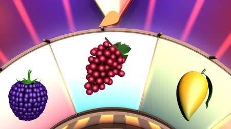 рулетка : Children video animation, Wheel of fruit Strawberry Стоковые видеозаписи