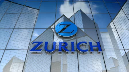 только : December 2017, Editorial use only, 3D animation, Zurich Insurance Group Ltd. logo on glass building.