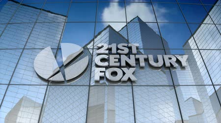 век : December 2017, Editorial use only, 3D animation, 21st Century Fox logo on glass building.