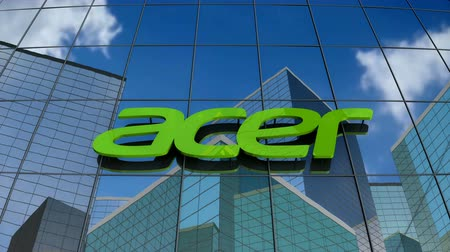 logo : January 2018, Editorial use only, 3D animation, Acer Inc. logo on glass building.