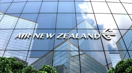 nouvelle zélande : Mai 2018, usage éditorial uniquement, animation 3D, logo Air New Zealand Limited sur bâtiment en verre.
