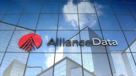 충성 : October 2017, Editorial use only, 3D animation, Alliance Data logo on glass building.