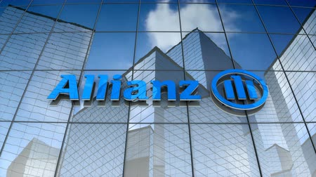de ativos : September 2017, Editorial use only, 3D animation, Allianz SE logo on glass building.